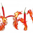 Burning chili inscription - Stock Photo