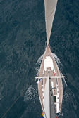 Top view of sailing boat — Stock Photo