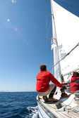 On sailing boat — Stock Photo