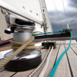 Winch with rope on sailing boat — Stock Photo
