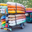 Stock Photo: Trailer with kayaks and paddles