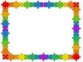 Rainbow puzzle frame — Stock Photo