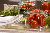 Food series: preserving of fresh tomato and marrow — Stock Photo