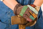 Hands of worker — Stock Photo