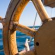 Yacht journey, steering wheel — 图库照片