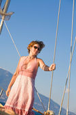 Woman on the yacht — Stock Photo