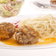 Pasta and meat-balls — Stock Photo