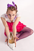 Girl with shoe — Stock Photo