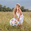 Little girl with ball — Stock Photo