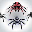 Stock Vector: Spiders silhouetts set