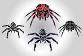 Spiders silhouetts set — Stock Vector