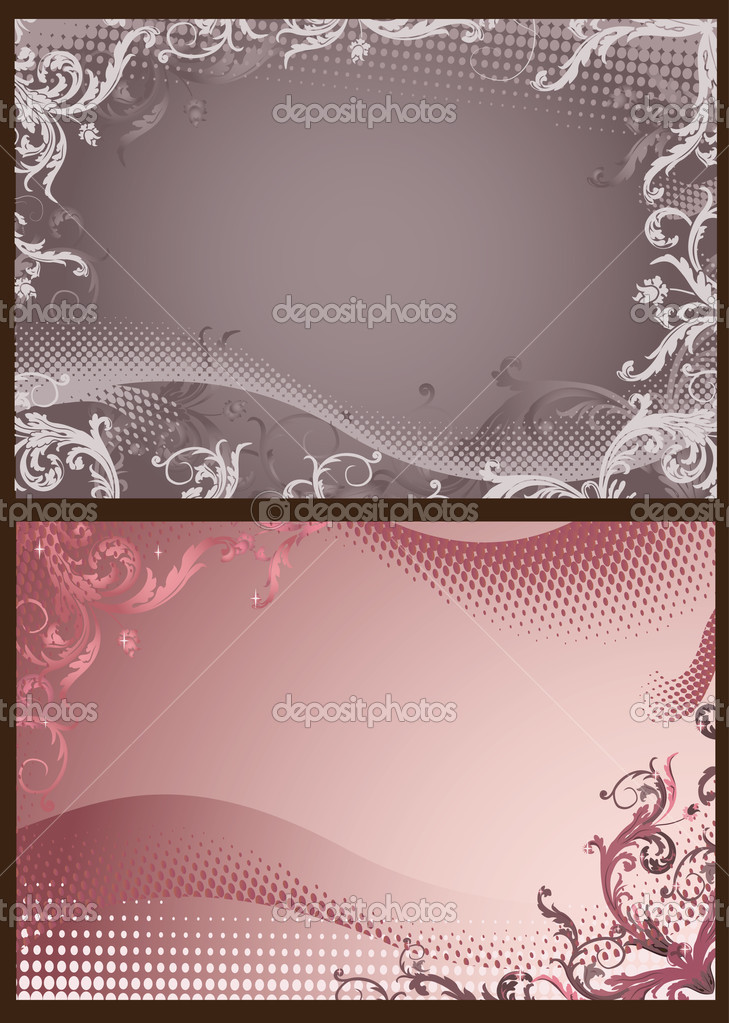Pink and gray floral backgrounds with halftone — Stock Vector #3154901