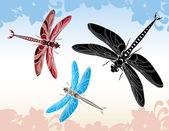 Dragonfly stencil vector illustration — Stock Vector