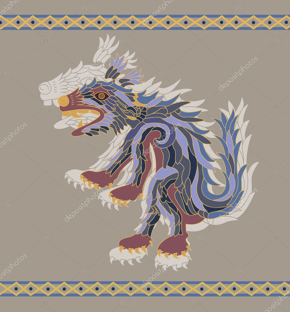 Traditional aztec coyote vector illustration for design — Stock Vector #3434766