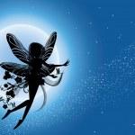 Flying fairy silhouette in night sky — Stock Vector