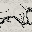 Black tattoo china dragon — Stock Vector