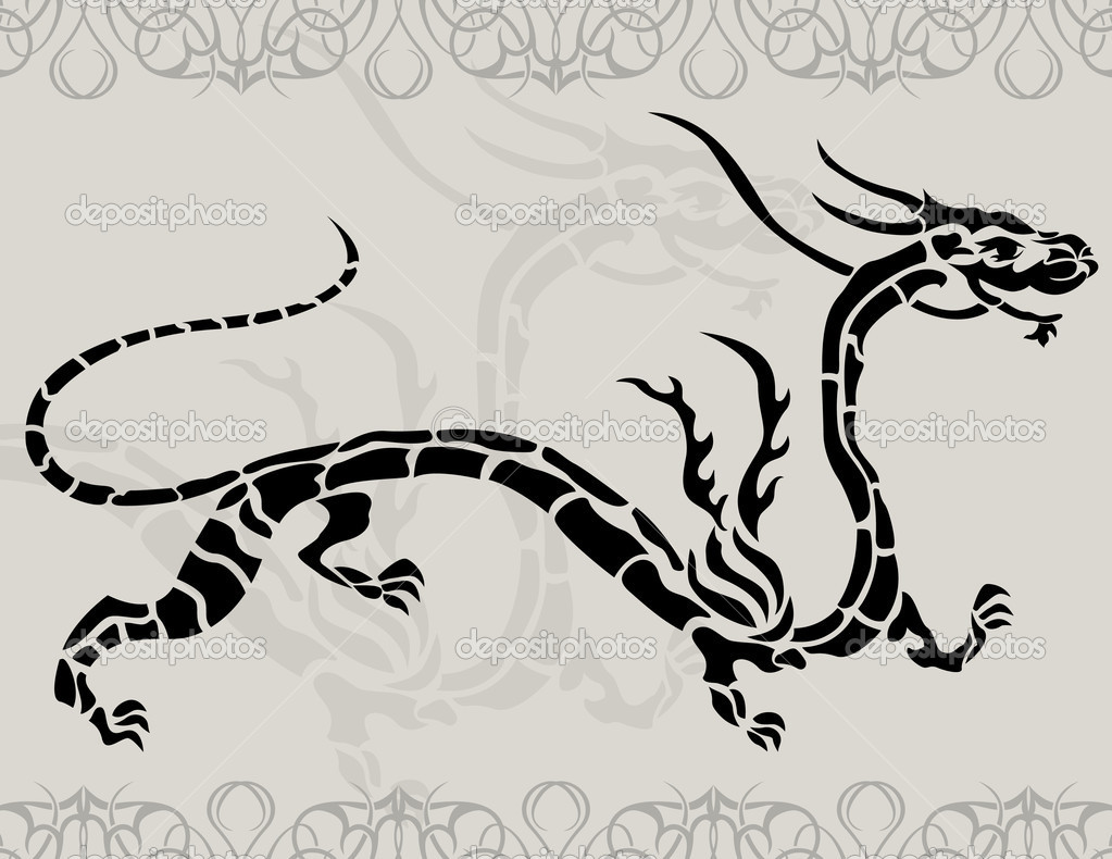 Black tattoo china dragon for