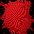 Black and red floral background - Stock Vector