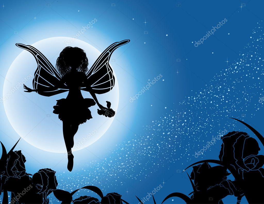 Flying fairy silhouette with flowers in night sky vector illustration — Stock Vector #3783076
