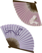 The traditional Japanese fan, two variants — Stock Vector