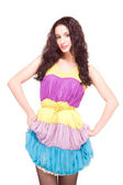 Beautiful model in colorful dress on white — Foto de Stock