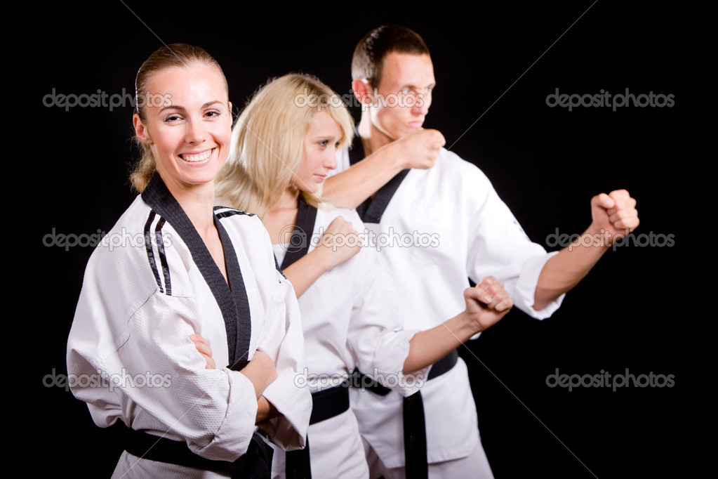 Group of young in kimono that make  martial arts exercise  Stock Photo #3067098