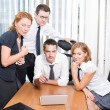 Manager with office workers on meeting in board room — Stock Photo #3671644