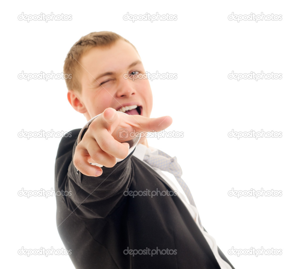 Young man pointing at camera. Isolated on white. — Lizenzfreies Foto #2706763