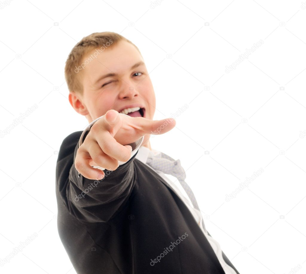 Young man pointing at camera. Isolated on white. — Foto de Stock   #2706763