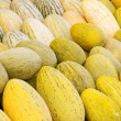 Stock Photo: Ripe yellow melons harvest on market