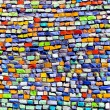 Horizontal colorful mosaic texture on wall — Стоковая фотография