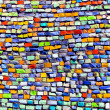 Horizontal colorful mosaic texture on wall - Stock Photo