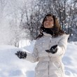 Happy women outdoors with snow — Stock Photo #2782627