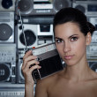 Woman with retro radio and Boom Box — Stock Photo #2789816