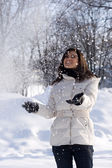 Happy women outdoors with snow — Stock Photo