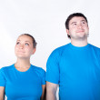 Couple look different way — Stock Photo