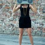 Woman with boom box head — Stock Photo