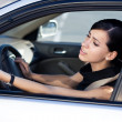 Businesswoman driver is angry — Stock Photo