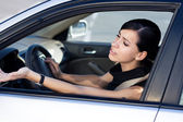 Businesswoman driver is angry — Foto de Stock