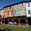 Medieval houses in Mirepoix. - Stock Photo