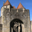 Entrance to the castle of Carcassonne. - Stock Photo