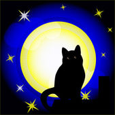 Full moon and cat — Stock Vector