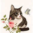 Cat and butterfly — Image vectorielle