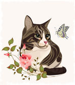Cat and butterfly — Stock Vector