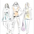 Fashion girls — Imagen vectorial