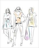 Moda kızlar — Stok Vektör