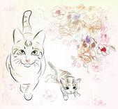 Cat and kitten — Stock Vector