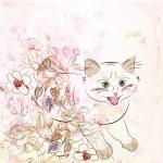 gatito y flores — Vector de stock
