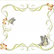 Floral frame with butterflies — Stock Vector