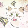 Cat and butterflies — Image vectorielle